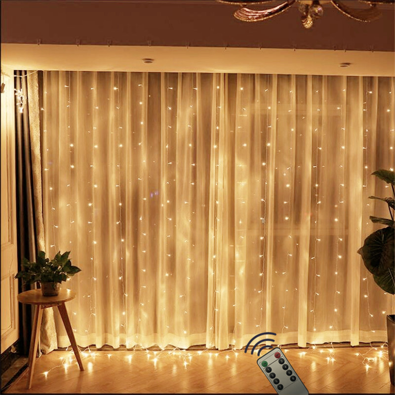 600LEDs 6x3M Curtain Fairy String Lights with Remote Control lights For Christmas Wedding Party Garden Home Decoration