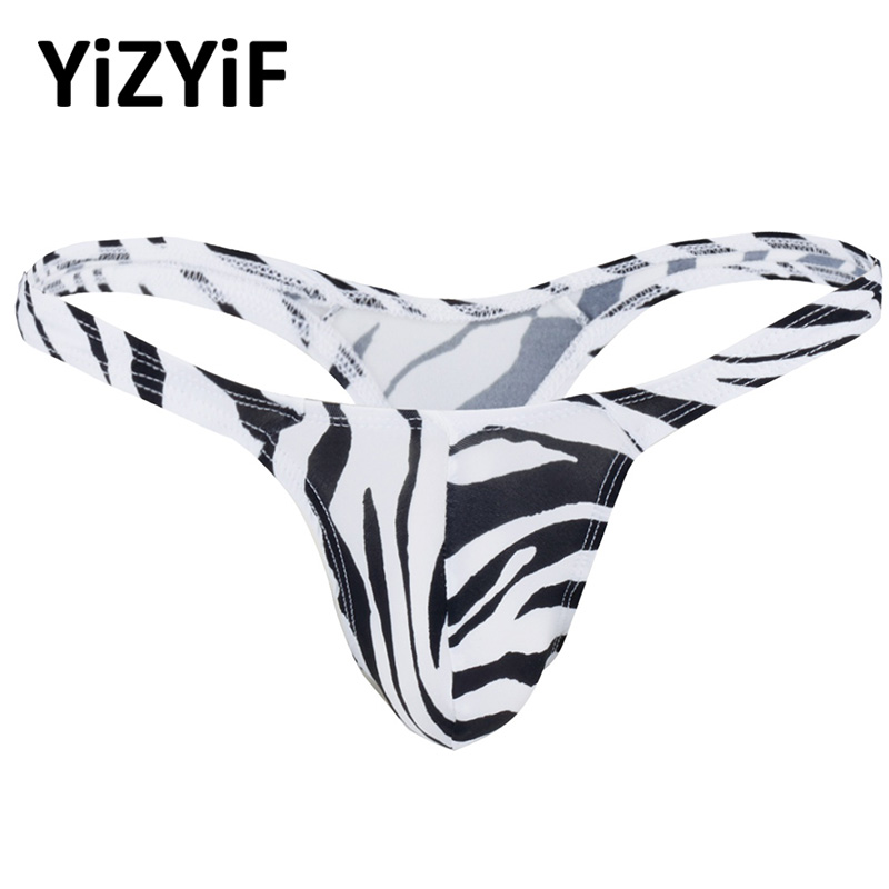 <font><b>Sexy</b></font> Gay Men <font><b>bikini</b></font> swimwear Panties Bulge Pouch Zebra String <font><b>Homme</b></font> T-Back Jockstraps Thong Underwear Slip Hommes swimsuit Men image