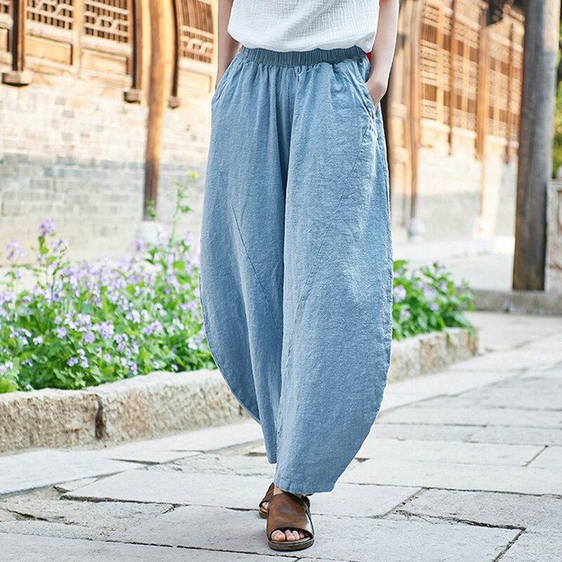 Casual Style Cotton Linen Trouser Solid Color Women Pants Spring Summer Ramie Elastic Waist Women Vintage Pants