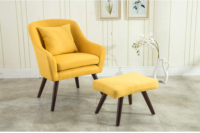 US $161.1 10% OFF|Mid Century Modern Design Armchair Chair Footstool Living  Room Furniture Wooden Legs Bedoorm Accent Chair with Stool Ottoman-in ...