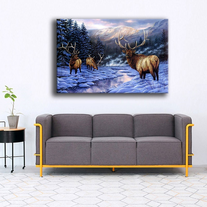 Winter Forest Snow Elk Nature Reindeer Painting Top-Rated Canvas Print 1 Panel Animal Landscape Picture Home Decor Wall Art