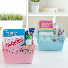 BF040 Multi-function Candy color square lace storage box desktop finishing sundries 20*20*13cm