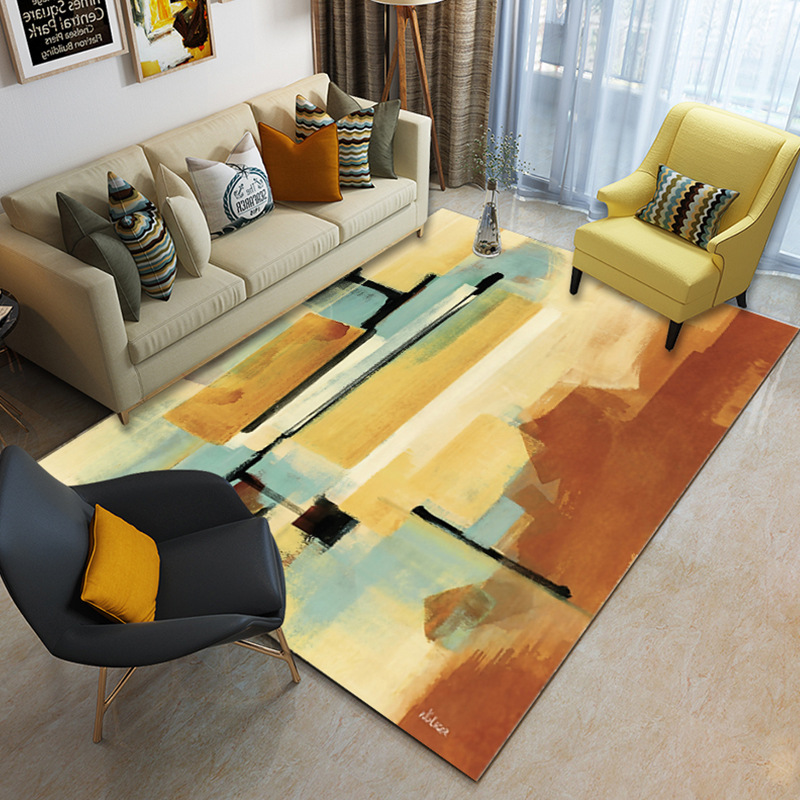 Image 2 - Nordic minimalist coffee table living room carpet Printed children's crawling mat Custom bedroom floor mat plush non slip rug-in Carpet from Home & Garden