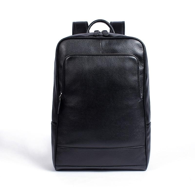Hommes en cuir véritable sac à dos sac à dos pour ordinateur portable grande capacité sacs d'école pour adolescents mode décontracté sac de voyage Mochila noir - 1