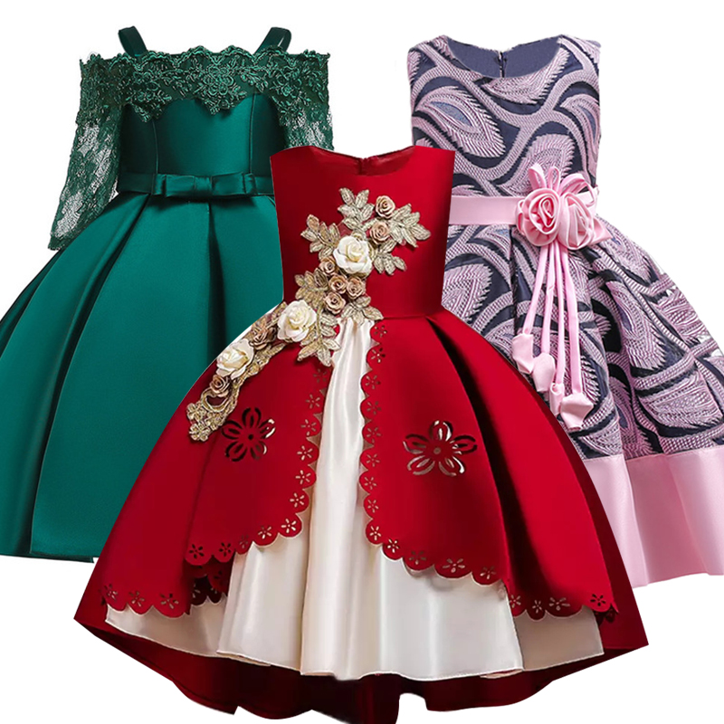 2019 Princess Costume Kids Dresses For Girls Clothing Flower Party Girls Dress Elegant Wedding Dress For Girl Clothes 3 10 Years(China)