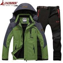 Зимняя Лыжная куртка Костюмы Для мужчин Водонепроницаемый флисовая куртка для снежной погоды Термальность пальто открытый Mountain Лыжный Спорт сноуборд куртка брючный костюм L-5XL
