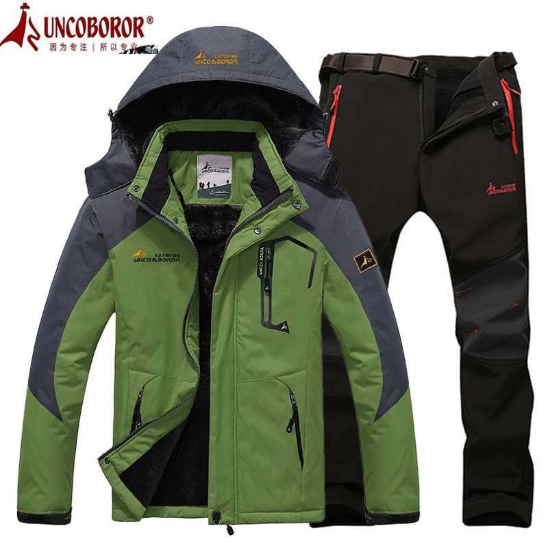 Winter Ski Jacket suits Men Waterproof Fleece Snow Jacket Thermal Coat Outdoor Mountain Skiing Snowboard Jacket Pant suits L 5XL