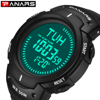 PANARS Digital Watch Mens LED Display Watches for Men Wrist Watch Waterproof Large Face Fitness Male Diver Compass 8208