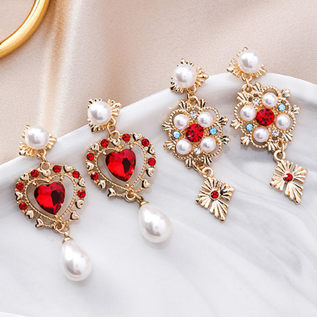 Luxury Red Rhinestone Love Heart Drop Earrings Sweet Cute Simulated Pearl  Earring for Women Wedding Bridal 5a91ceef7010
