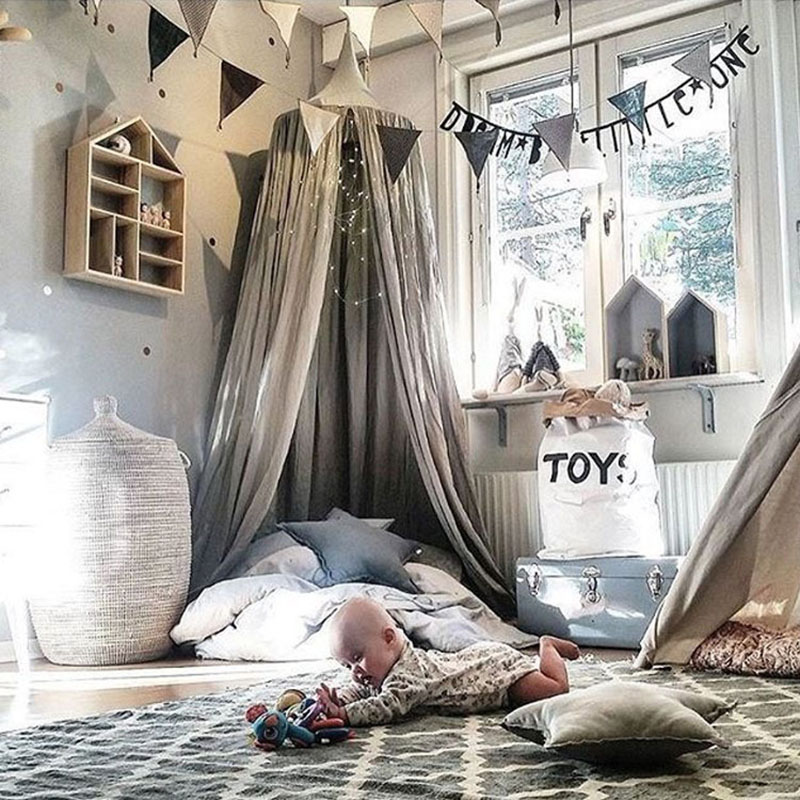 Baby Bed Curtain Children Room Decoration Crib Netting Baby Cotton Hung Dome Baby Mosquito Net Photography Props Tipi Party
