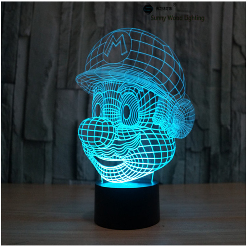 Mario touch switch LED 3D lamp ,Visual Illusion 7color changing 5V USB for laptop, desk decoration cartoon toy lamp