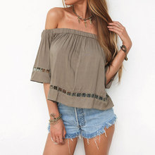 Women Blouses Shirts Tops Off Shoulder Sexy Summer Hole Slim Fit Casual Stylish Chic S/M/L/XL Deep Khaki Blusas Y Camisas Mujer