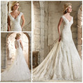 2016 Summer New Arrival Lace Wedding Dress V neck Cap Sleeve Long Elegant Mermaid Wedding Gown Vestidos de Novia Robe de mariage