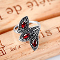 Vintage garnet ruby with 925 sterling silver cocktail ring for women unique leaf shape design