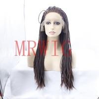 MRWIG 33# Braided Box Braids Wig Glueless Front Wig 20inch Real Hair 200%High Density For Lady