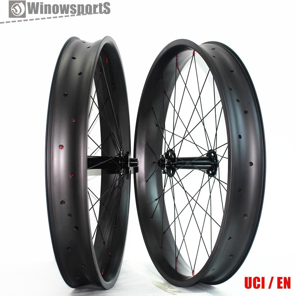 Carbon Fat Bike Wheels 26 Inch Snow Bike 32 Holes Clincher Hookless Rims 80mm Width 25mm Depth fat bike wheels