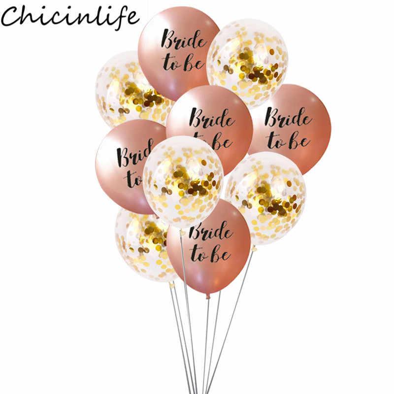 Chicinlife 12 pouces Rose Or Thème Mariée À Être Latex Ballon Bachelorette Poule Parti Mariée Douche Fournitures De Décoration De Mariage