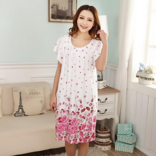 2018 Free Shipping Woman Spring Summer Dress Cotton Nightgown Girl's Soft Sleepshirts Female Sleepwear Plus size Nightgowns XXL 1