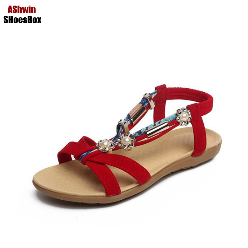 summer woman flat sandals beads string gladiator sandals flip flops T-strap bohemia beach flat peep toe pearls casual shoes free shipping 2016 summer diamond woman sandals casual flat thong flip flops fashion beads wild sandals white black st338