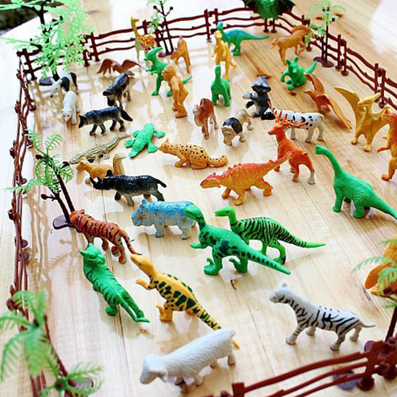 68pcs/set Simulation Zoo Plastic Mini Animal Model Toys For Children Dinosaurs tiger horse DIY  Educational Toys 12pcs set dinosaurs plastic model children simulation animal solid soft dinosaur action figures toys gift for kids e
