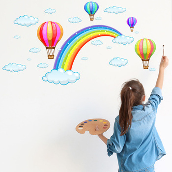 Cartoon Rainbow Cloud Hot Air Balloon Wall Sticker for kids baby rooms decoration Mural Art Decals home decor stickers wallpaper [shijuekongjian] hot air balloon wall stickers diy cartoon wall decals for kids rooms baby bedroom shop glass decoration