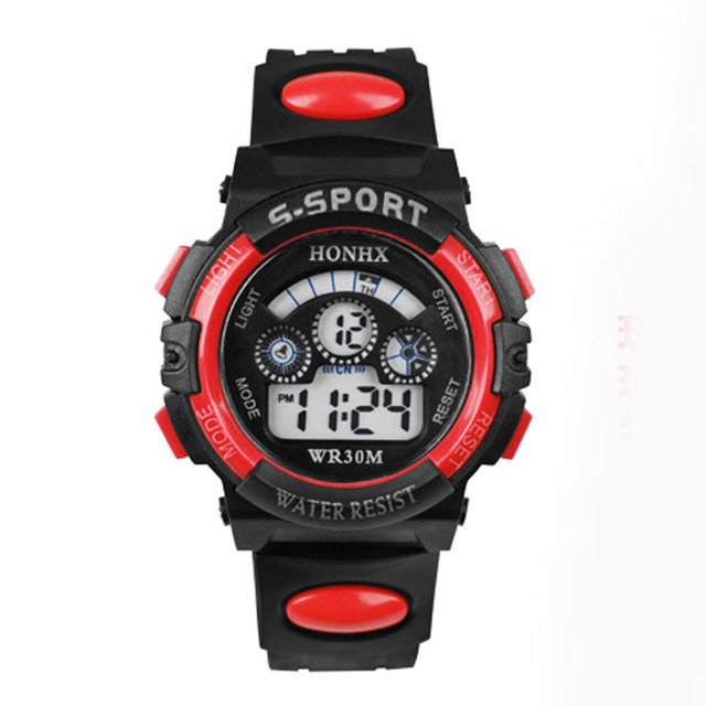 2018 New Hot Top Waterproof Children Boy Digital LED Quartz Alarm Date Sports Wr