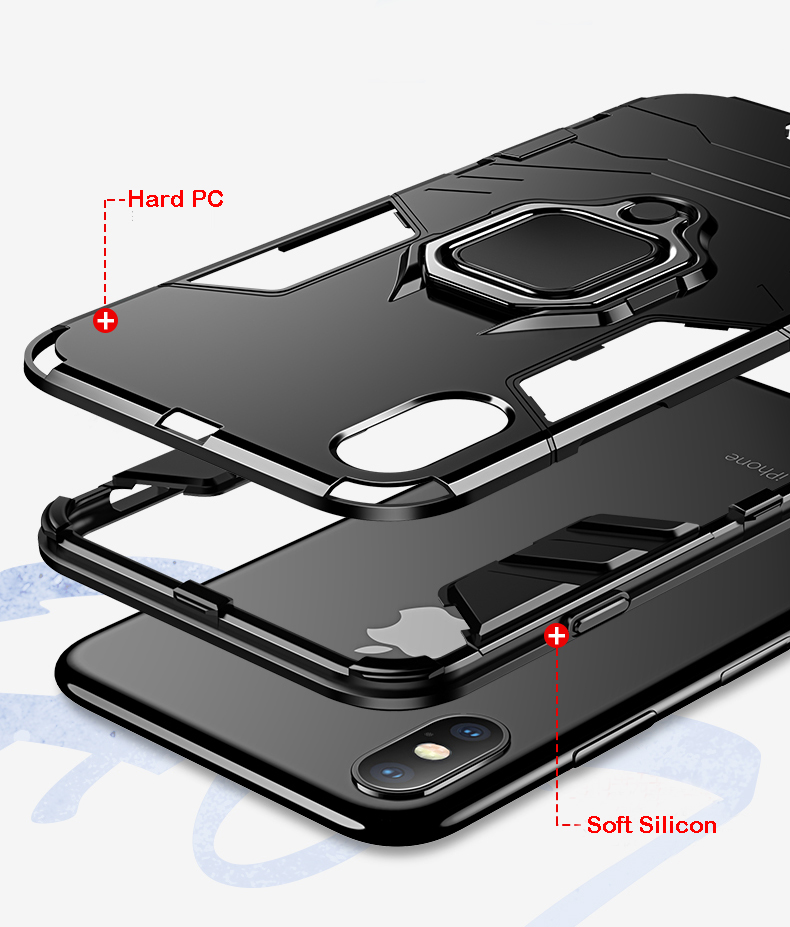 Luxury Armor Shockproof  Kickstand Phone Case For iPhone XS MAX XR XS X 8 7 6S Plus 5S SE Ring Stand Holder Bracket  Cover Funda (5)