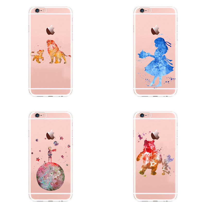 Watercolor Mickey Minne Stitch Mermaid Princess Lion King <font><b>Poof</b></font> Bear Monsters Soft Phone Case For iPhone X 5 6 6Plus 7 7Plus image