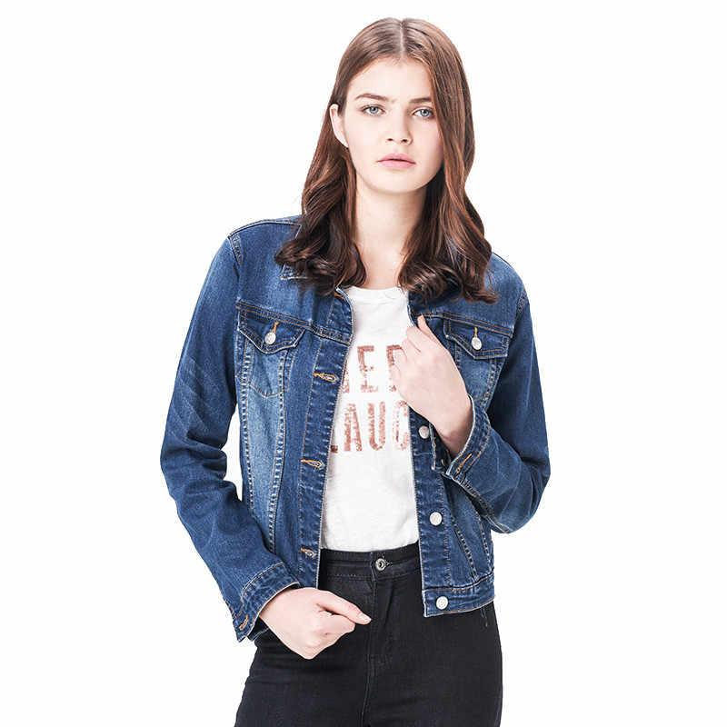 2019 leijiджинсы женские большие размеры 6XL длинные басические джинсы куртка пальто отбеливатель с длинными рукавами одной грудью тонкая женская джинсовая куртка