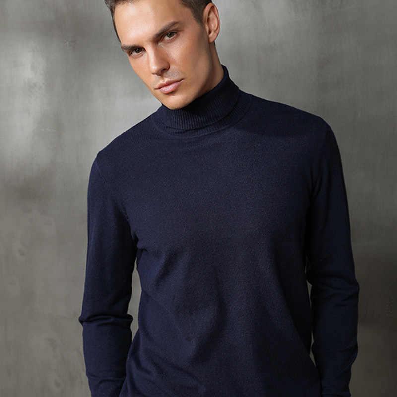 남성 캐시미어 울 니트 스웨터 터틀넥 브랜드 솔리드 컬러 남성 풀오버 남성 빈티지 스타일 가을 겨울 기본 의류