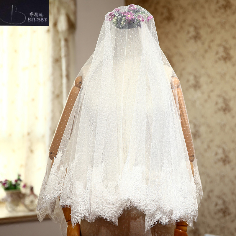 BRITNRY Real Photos 2018 Wedding Accessories Two Layer Lace Edge Bridal Veil Ivory Cheap Wedding Veil