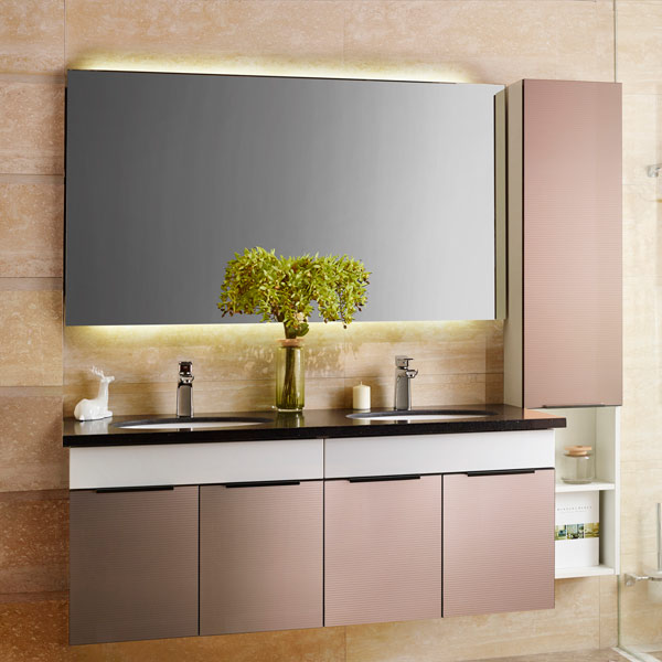 New Design Oppein Luxury Double Hanging Glass Bathroom Cabinets OP14 028