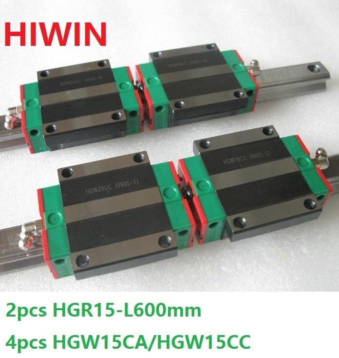 2pcs 100% original Hiwin linear rail guide HGR15 -L 600mm + 4pcs HGW15CA HGW15CC flange carriage block for cnc router hgr15 interchangeable linear rail guide 15mm l 750mm 2pcs rail block linear carriage hgw15cc replace hiwin for cnc router
