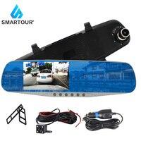 Smartour dash camera dash cam car dvr mirror dual rear view camera rearview dashcam auto recorder video full hd front and rear