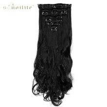 """Snoilite 17 """"24"""" Леди Длинные вьющиеся 18 клип в Наращивание волос для Человеческие волосы шиньоны Синтетический 8 шт./лот чёрный; коричневый"""