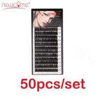 NEWCOME 50 лотки/комплект 3D корейский Наращивание ресниц натуральный черный Поддельные Накладные ресницы Curl C/D ресницы для профессионального м
