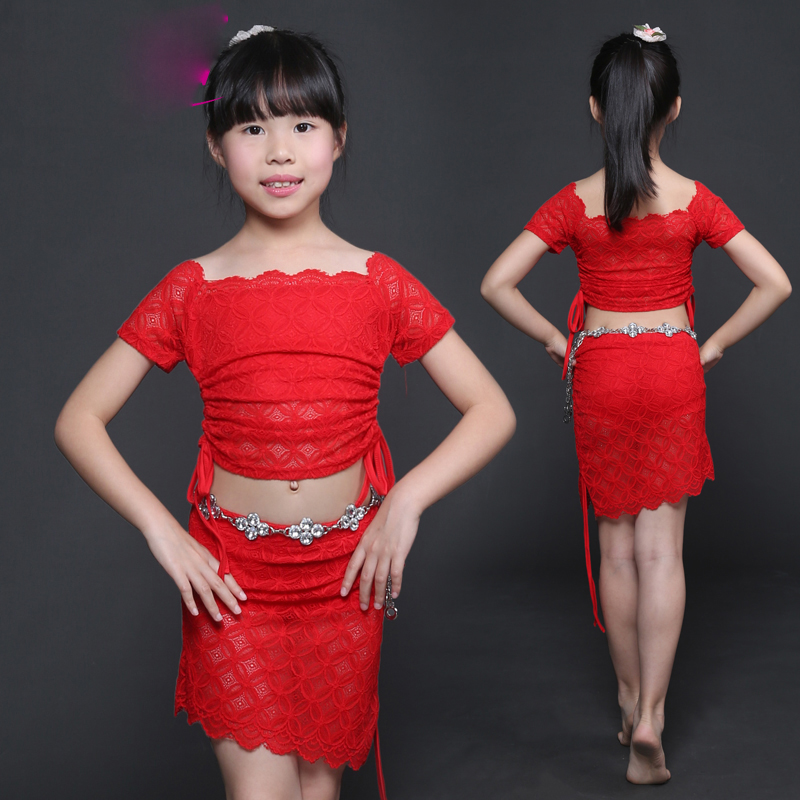 Belly Dance Costumes Girls Short Sleeve Lace Bellydance Top Skirt Bollywood Indian Clothes For Kids Stage Dancing Wear DN2286