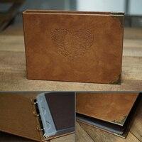 Free shipping Diy handmade leather inner Interstitial European retro album album with transparent PVC bags albuns de fotos