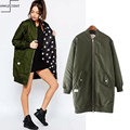 New Winter Women Thicken Army Green Bomber Jacket Long Thicken Down Parka Women Coat Women's Loosen Down Jacket