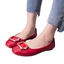 ladies shoes platform Women Shallow Square Buckle Slip On Low Heel Round Toe Single Shoes#NFA(China)