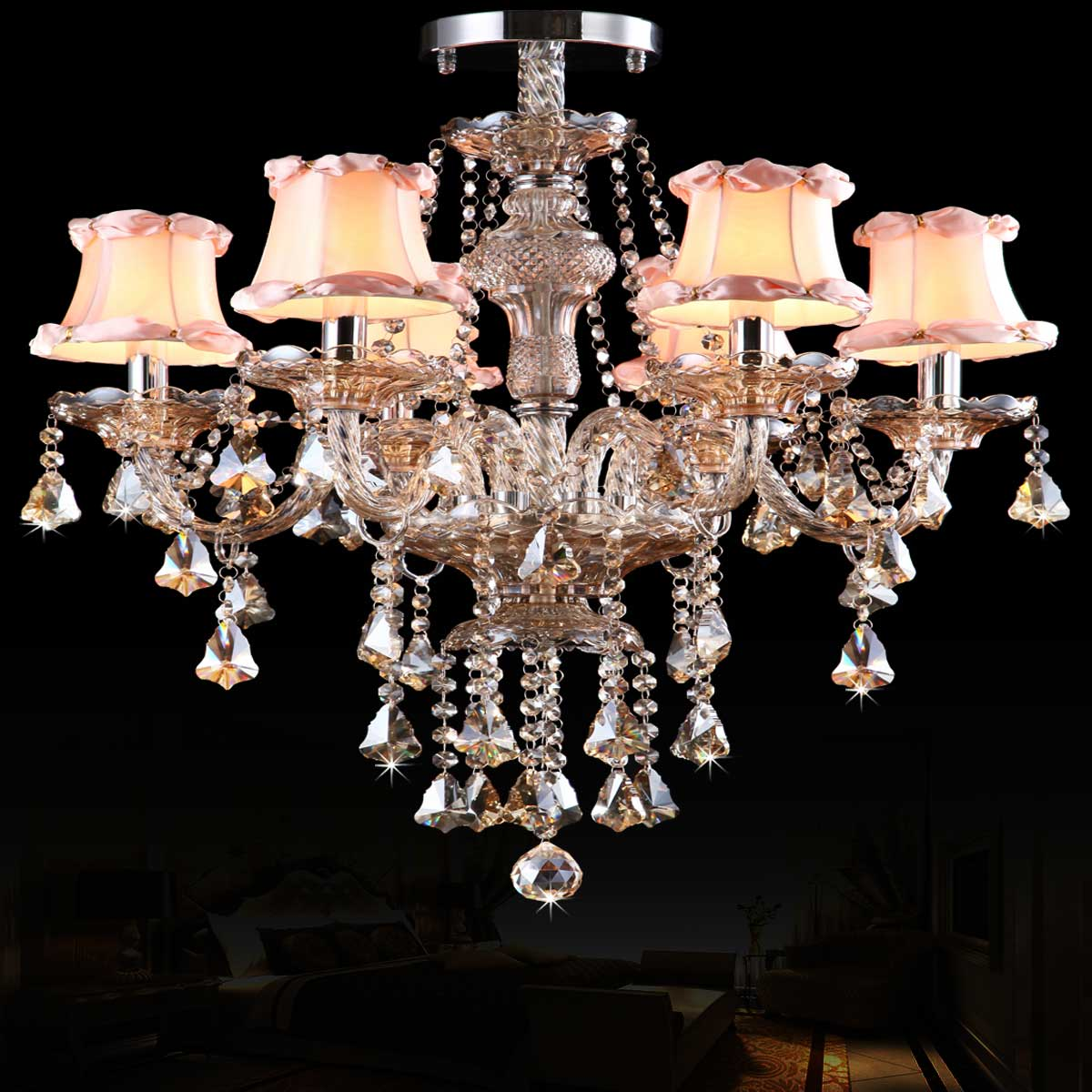 Crystal Ceiling chandelier Living Room Bedroom Modern Minimalist Art Lamp Creative crystal chandelier with lampshade цена и фото