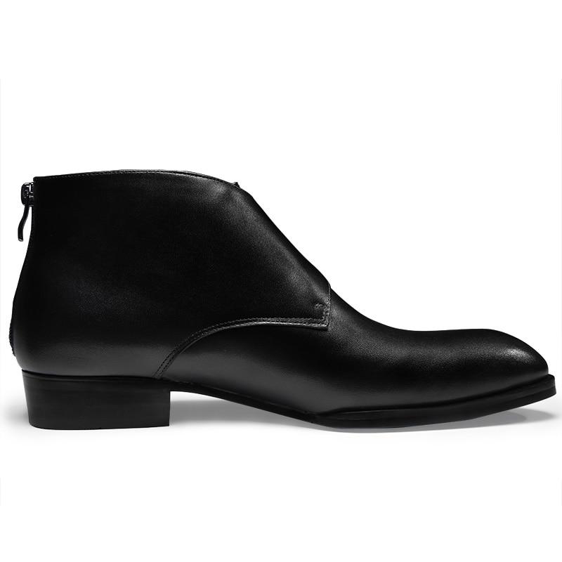 Zapatos Cálidas Boda Vestir Moda Felpa Hebilla Completo Black Cremallera black Cuero Para Fur Hombre Elegantes De Grano Botas Nieve Tobillo Con Zxqwpag