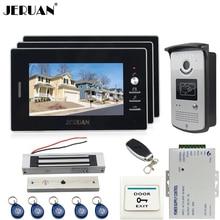 """JERUAN 7"""" TFT video door phone Entry intercom system kit 700TVL RFID IR Night Vision Camera 3 monitor 180KG Magnetic lock"""