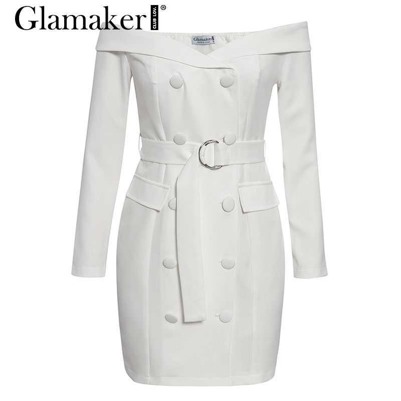 Glamaker weiß Sexy off schulter gürtel blazer kleid Frauen party lange hülse bodycon kleid Mode elegante club weiblichen kurzen kleid