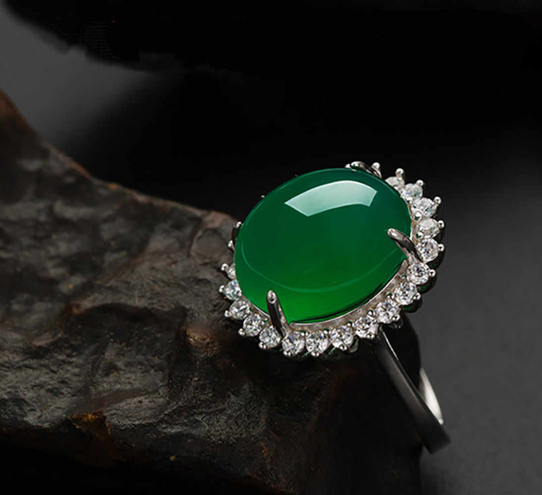 Emerald แหวนหยกสีเขียว Chalcedony อัญมณี Silver S925 แหวน Turquoise ดอกไม้รูปไข่อาเกตสำหรับผู้หญิงหยก anillos de bizuteria