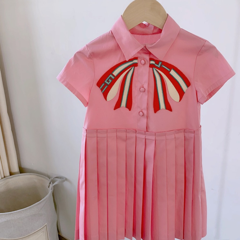 2019 New Fashion Summer Girl Party Dress Pink Princess Dress Cute Letter Bow Dresses for Girl kids