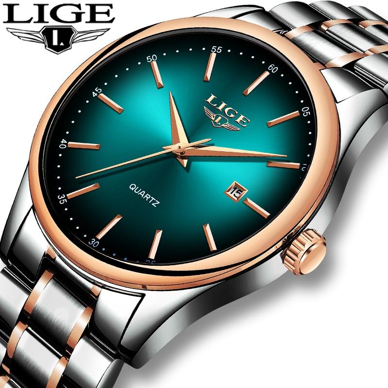 LIGE New Watches Mens Top Brand Fashion Cool Men's Sports Watch Full Steel Waterproof Business Men WristWatch Relogio Masculino