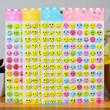 4pcs Fashion Brand Kids Toys Cartoon Emoji Smile face Expression 3D Stickers Children PVC Stickers Bubble Stickers(China)