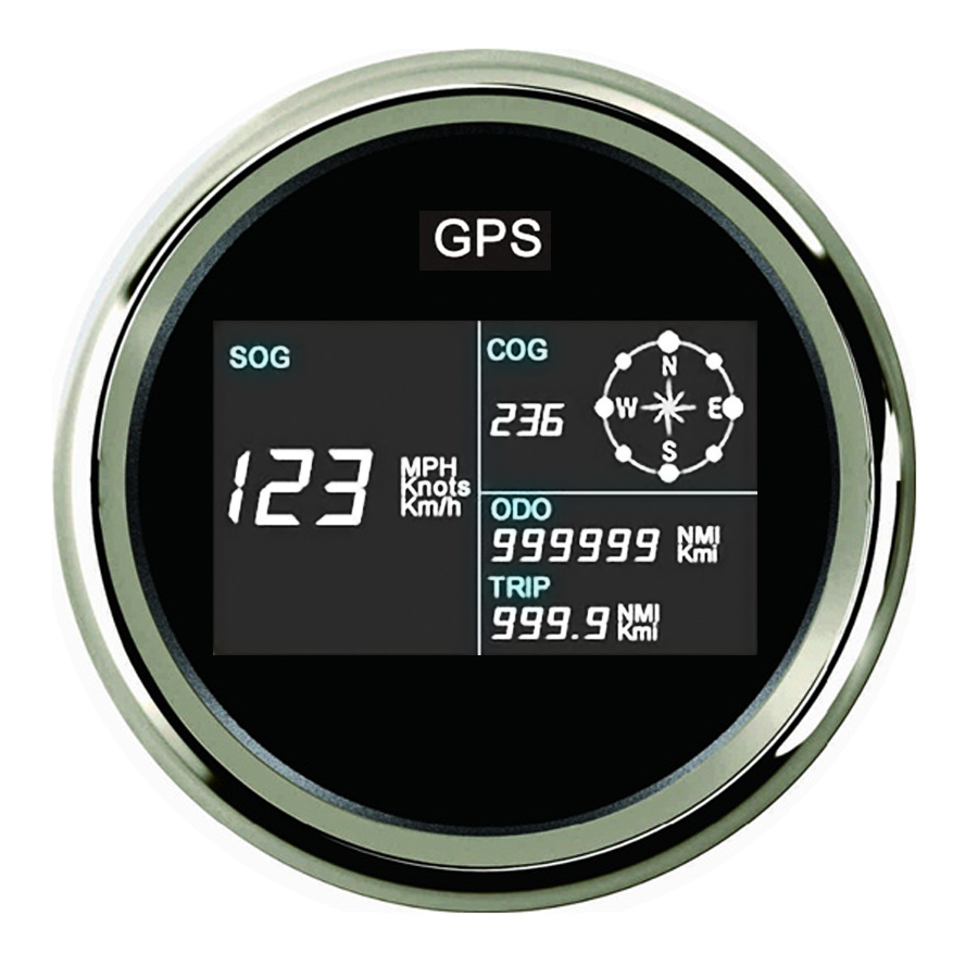 New 85mm Car GPS Speedometer MotorcycleTruck Boat Digital LCD Speed Gauge Knots Compass with GPS Antenna 100% brand new gps speedometer 60knots for auto boat with gps antenna white color