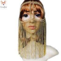Tribal fusion złoty łańcuch uprząż biżuteria nakrycia głowy łańcucha żyrandol Twarzy KD043